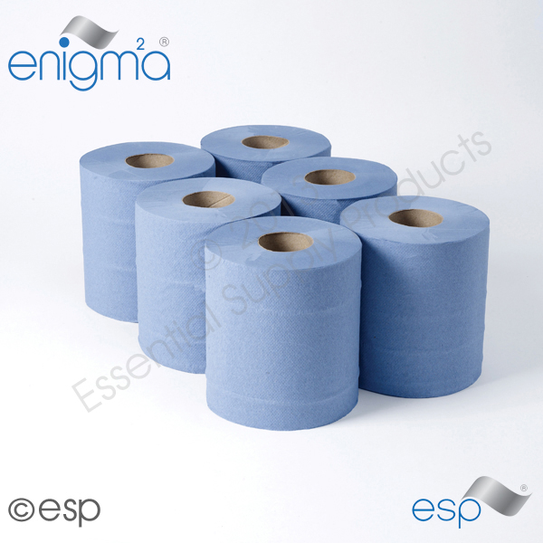 2 Ply Blue CentreFeed Rolls 125M x 180mm x 60mm Embossed