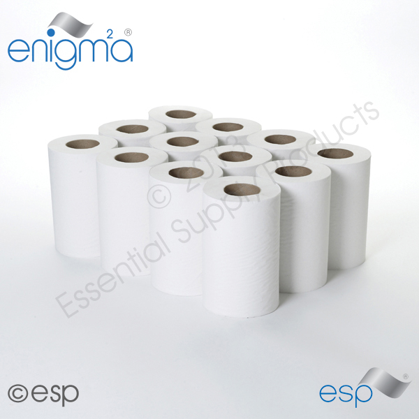 1 Ply White Mini CentreFeed 120M x 195mm x 60mm