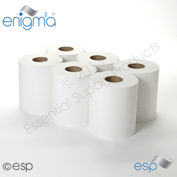 2 Ply White CentreFeed Rolls 144M x 195mm x 60mm 400 Sheets