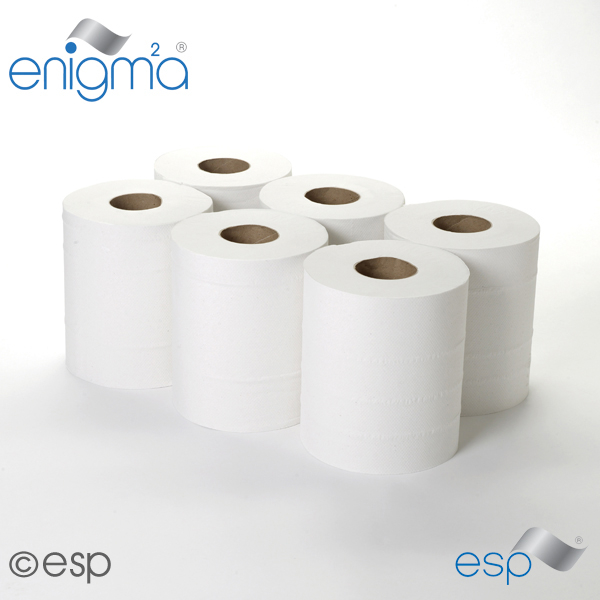 2 Ply White CentreFeed Roll 125M x 180mm x 60mm Embossed