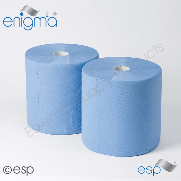 3 Ply Blue Glued Embossed Roll 190M x 360mm x 50mm 500 Sheets