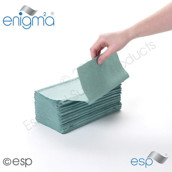 1 Ply Green Inter-Fold Hand 3600 Sheets Packed 240 x 15