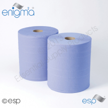 2 Ply Blue Industrial Rolls 400M x 270mm x 60mm 1000 Sheet