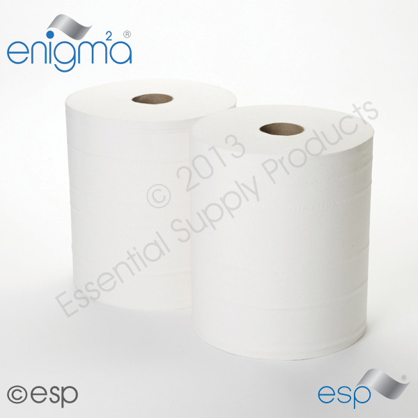 2 Ply White Industrial Rolls 288M x 230mm x 60mm 800 Sheets