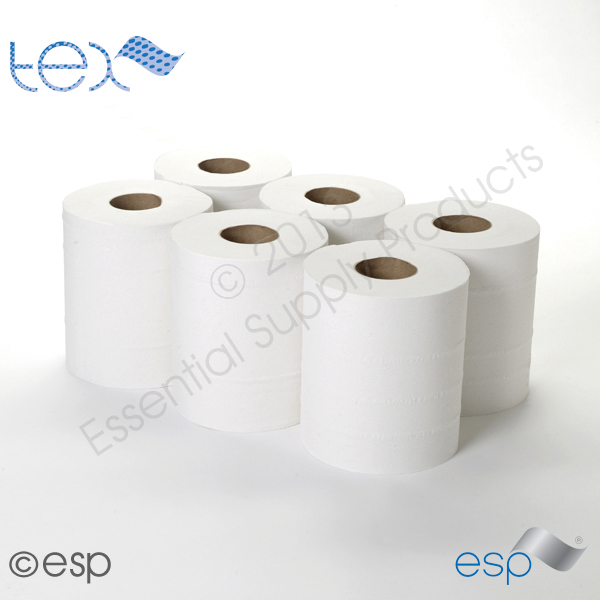 2 Ply White CentreFeed Rolls 100M x 180mm x 60mm 400 Sheets